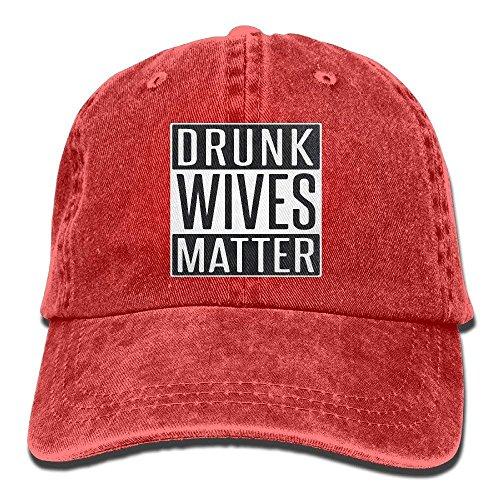 RZM YLY's Drunk Wives Matter Unisex Adult Vintage Washed Denim Adjustable Baseball Cap Black caps