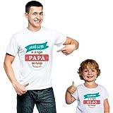 Calledelregalo Regalo Personalizado para Padres e Hijos: Pack Personalizado de Camiseta para Padre + Body o Camiseta para Hij