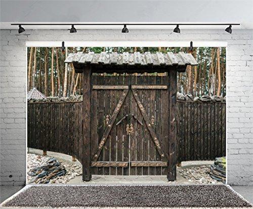 OERJU 3x2m Holzbrett Hintergrund Holzbrett gemacht Tür Zaun Wald Hintergrund Wand Dekoration für Portraitaufnahmen Fotografie Requisiten (Hohen Meter 2 Zaun)