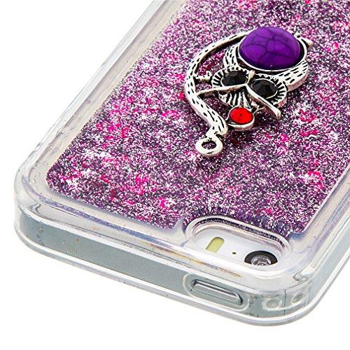 Mk Shop Limited Coque pour iPhone SE, iPhone 5 / 5S Coque,iPhone SE / 5S / 5 Gel 3D Transparent Hourglass Sables Mouvants Liquide Coque Slim Soft Etui Housse, iPhone SE / 5S / 5 Silicone Clear Case TP Multi-couleur 4