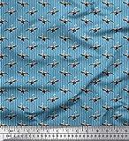 Soimoi Azul terciopelo Tela raya y la cigüeña pajaro estampada de tela por metro 58 Pulgadas de ancho