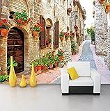Kuamai Benutzerdefinierte 3D Wandbild Tapete Für Wand Pastoralen Stadt Straße Altes Haus Mit Blumen Wandmalereien Wohnzimmer Tv Sofa Hintergrund Wandabdeckung-120X100cm