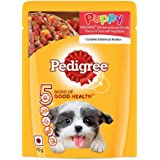 Pedigree Puppy Wet Dog Food, Chicken And Liver Chunks Flavour in Gravy with Vegetables, 70 g Pouch