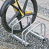HENGDA Fahrradständer, für 2 Fahrräder, Verzinktem Stahl, Boden- und Wandmontage, Fahrradhalter Mehrfachständer, LBH: ca. 41 x 32 x 26 cm, Silber