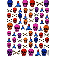 SKULL PUNK sticker sticker decal Metallic Glitter 1 sheet Dimensions: 13.5 cm x 10 cm