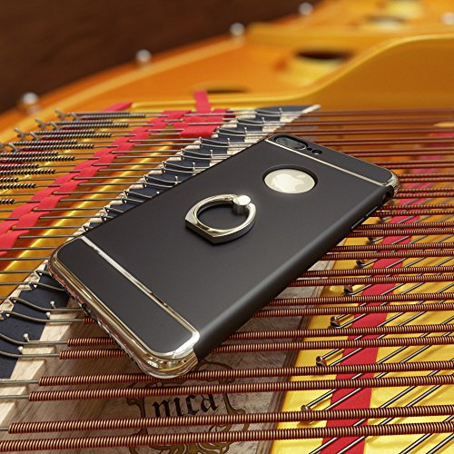 iPhone 6 6S Coque avec Bague de NICA, Housse Protection Case Mince avec 360 Degrés Rotation Ring Stand, Etui Rigide Ultra-Fine Bumper Cover pour Telephone Portable Apple iPhone-6S 6 - Gold Or Noir