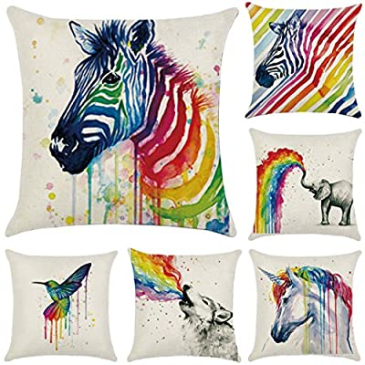 Cotton Linen Throw Pillow Case Rainbow Animals Cushion Cover Home Office Decorative 18 X 18 Inches 6-Pack - cheap UK light shop.