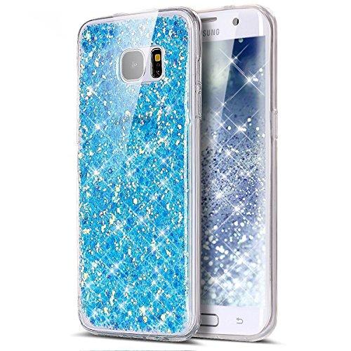 Samsung Galaxy A7 2017 Cover,Samsung Galaxy A7 2017 Custoida,KunyFond Cover Custodia per Samsung Galaxy A7 2017 in Silicone Diamante Bling Glitter Custodia Cover Moda Lusso Placcatura Specchio Scintil bleu chiaro