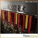 RUNNER | Porta medaglie / Medagliere da parete MEDALdisplay Medal Hanger (450 mm x 80 mm x 3 mm, Maschile)
