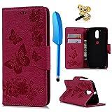 YOKIRIN Motorola Moto G4 Plus Hülle Case Großer Schmetterling Tasche Hülle PU Leder Flipcase Book Cover Handyhülle Stand Schutzhülle Handyschale Kredit Kartenfächer Magnetverschluss Rose Rot
