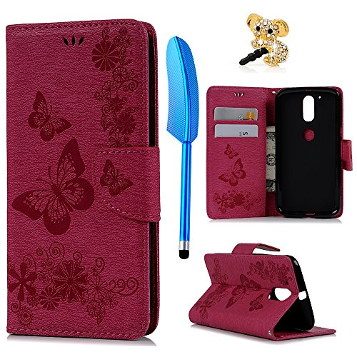 Motorola Moto G4 Plus Hülle Case YOKIRIN Großer Schmetterling Tasche Hülle PU Leder Flipcase Book Cover Handyhülle Stand Schutzhülle Handyschale Kredit Kartenfächer Magnetverschluss Rose Rot