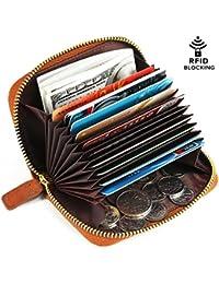 Kattee Porte-monnaie Porte-cartes Portefeuille Anti RFID Femme Homme Cuir Vintage 10+2 Compartiments