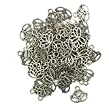 #10: Imported 50pcs Hollow Lotus Flower Cut Pendant Charms Jewelry Making Findings DIY