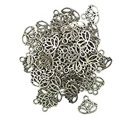 Imported 50pcs Hollow Lotus Flower Cut Pendant Charms Jewelry Making Findings DIY