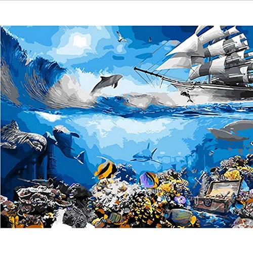 CBUSYS Rahmenlose DIY Gemälde Nach Zahlen Malen Nach Zahlen Für Wohnkultur Ölbild Malerei 50 * 65 cm Sea World