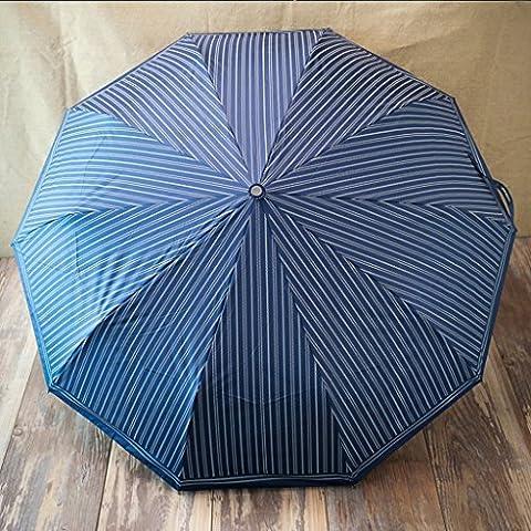 Soleggiato Idee Ombrello commerciali Stripes Solid Ultra - Vento ombrello pieghevole ( colore : Blu )