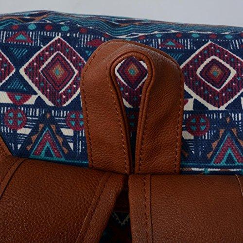 BZLine® Frauen Neue Doppel-Schulter Print Canvas Rucksack Schultasche Travel Rucksack A