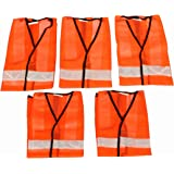 Ladwa Reflective Jacket for Road Safety Pack of 5 (Orange)