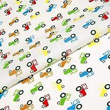 ... Telas Infantiles Por Metro. Tractores Tejido Impreso Niños Polialgodón  Blanco Azul Rojo Verde Granja Vehículos Manualidades Guardería ...