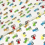 Traktoren Stoff Print Kinder Polycotton weiß blau rot grün Farm Fahrzeuge Craft Kinderzimmer (Pro Meter)