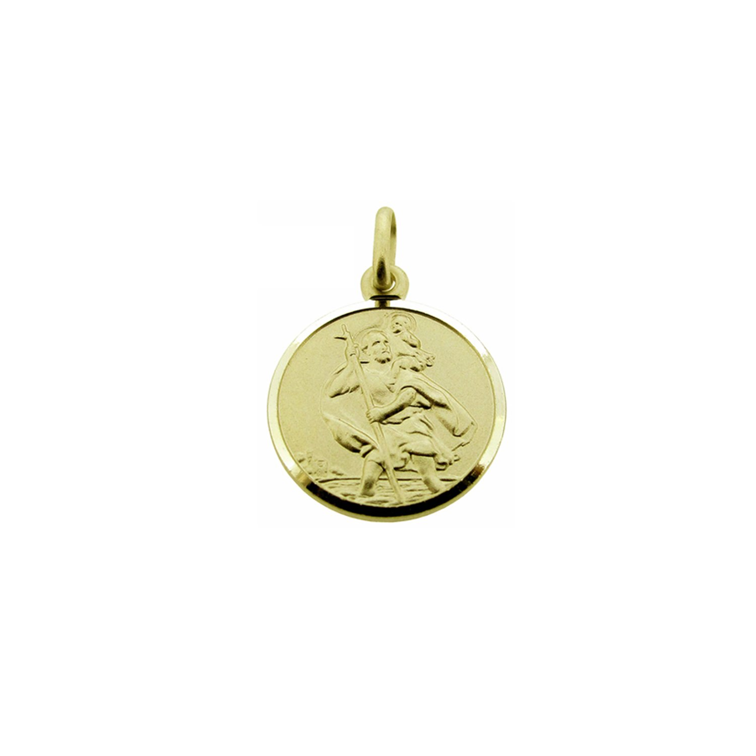 CJoL – 9ct Yellow Gold Girls 8mm Round St Christopher Pendant With Optional Chain In Gift Box