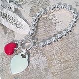 Maraca style Argentage Bracelet avec le coeur rouge charme