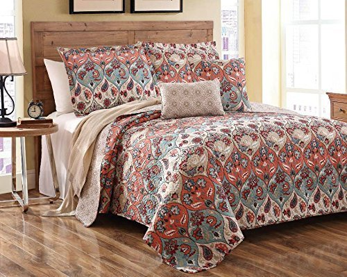 Dada 3 Piece Multi Floral Paisley Garden Party Reversible Bedspread Quilt Set, Queen by DaDa Bedding Collection
