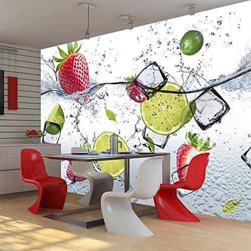 *murando – Fototapete Küche 400×280 cm – Vlies Tapete – Moderne Wanddeko – Design Tapete – Wandtapete – Wand Dekoration – Obst Limone Erdbeere grün weiß rot Wasser Eis 10110908-2*