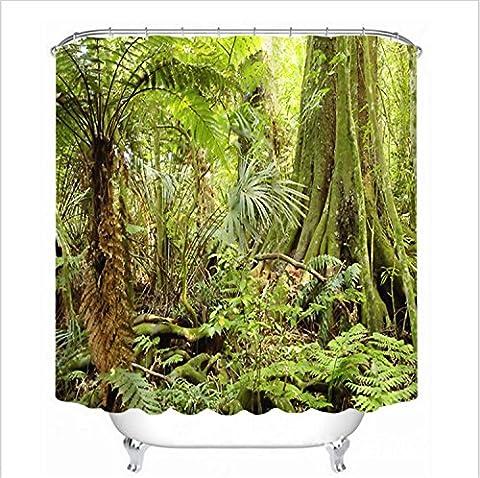 Tropical Jungle Green Tree Waterproof Bathroom Polyester Fabric Shower Curtain 3D Digital Printing Bathroom Decorations Art Print 12Hooks