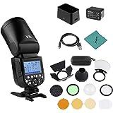 Godox V1C Flash de cámara Speedlite Speedlight Cabeza Redonda inalámbrica 2.4G Fresnel Zoom + Godox AK-R1 Kit de Accesorios d