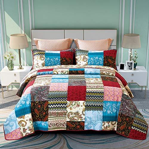 ENCOFT 3 teilig Bettwäscheset Tagesdecke 100% Baumwolle Quilt Patchworkdecke Doppelbett Wohnzimmer Kinderbett(230 x 250 cm, Style 1)