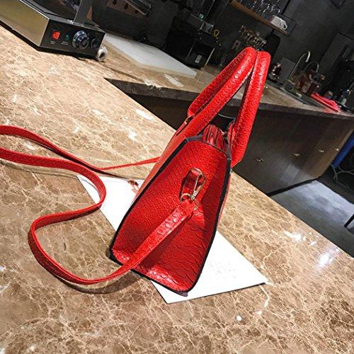 Damen Handtaschen, Huhu833 Frau Crossbody Taschen Leder Handtasche Alligator Muster Schultertasche Rot