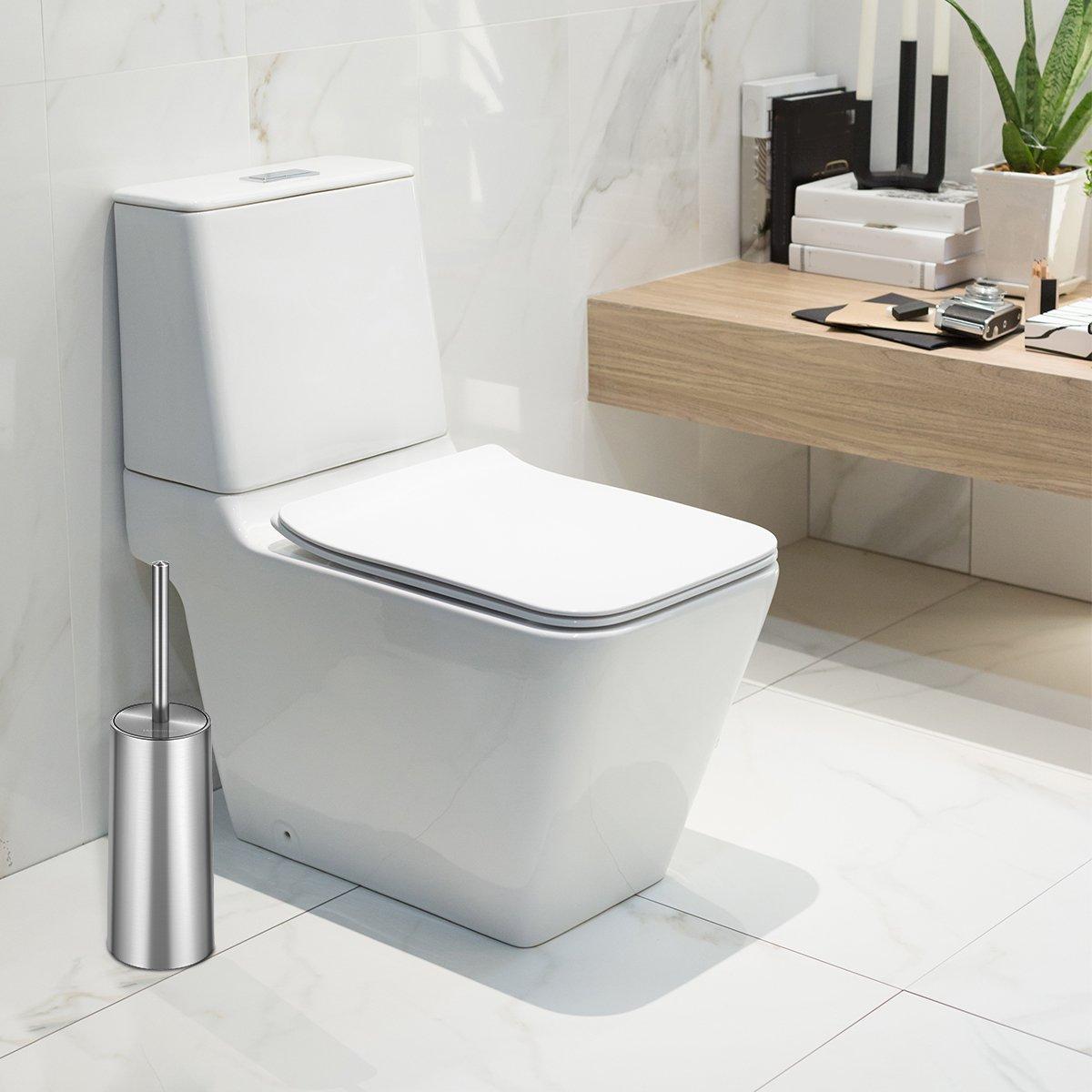 Homemaxs Scopino Bagno e Portascopino WC Scopino per WC in Acciaio Inossidabile e Resistente alla Ruggine