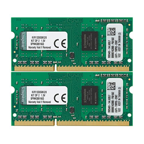 Kingston KVR13S9S8K2/8 Arbeitsspeicher 8GB (DDR3 Non-ECC CL9 SODIMM Kit, 204-pin, 1,5V)