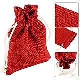 Grenhaven - SET 12x Saco de Joyas, bolsitas de yute, bolsa de tela, bolsas sacos de yute, Bolsas de Regalo, Bolsa De La Joyeria, 13x10cm, Lino natural, rojo