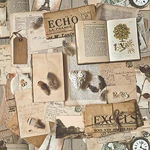 ugepa papier peint non tiss motif vintage vieux journaux et livres multicolore j94607 amazon. Black Bedroom Furniture Sets. Home Design Ideas
