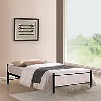 FurnitureKraft Osaka Single Size Metal Bed (Glossy Finish, Black)