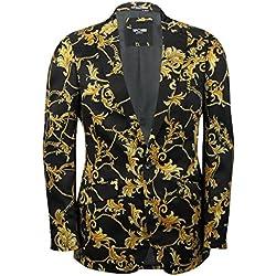 Mensblack Doré Floral Brocade Imprimé fleurs Blazer ajusté Designer Italien décontracté Costume Veste Manteau - Noir -