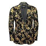 mensblack Gold Blumen Brokat Print Ausgestattet Blazer Italienische Designer Casual Anzug Jacke Coat, Schwarz