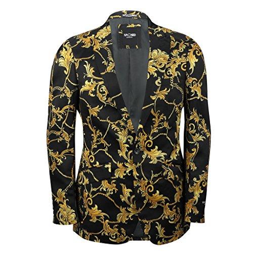 mensblack Gold Blumen Brokat Print Ausgestattet Blazer Italienische Designer Casual Anzug Jacke Coat, Schwarz Designer Print-cover