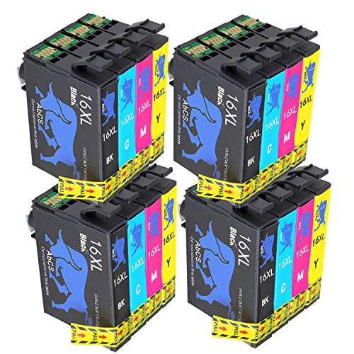Abcs Printing Compatibili Epson 16 16XL Cartucce inchiostro per Epson Workforce WF-2510 WF-2630,WF-2530,WF-2760,WF-2520,WF-2660,WF-2750,WF-2650, wf-2540 ,4 Nero, 4 Ciano,4 Magenta, 4 Giallo