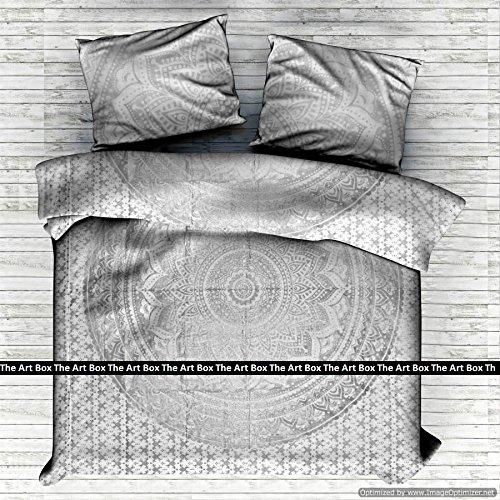 THE ART BOX Silber Ombre Indischen Bettbezug Bettwäsche Tagesdecke 3 Stück Baumwolle Bettbezug Set Queen Size 85x90 Zoll (3 Stück Queen-size-schlafzimmer-set)