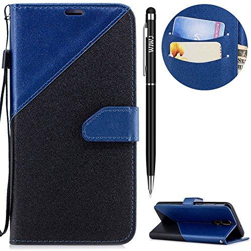 Huawei Mate 10 Lite Hülle,Huawei Mate 10 Lite Leder Handyhülle,WIWJ Handyhülle Wallet Case[Zwei-Farben-System Splice Ledertasche] Flip Schutzhülle für Huawei Mate 10 Lite-Königsblau