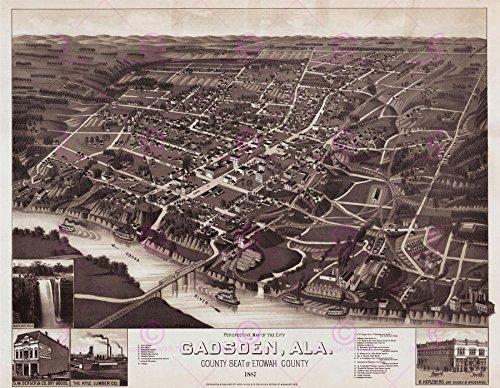MAP ANTIQUE 1887 WELLGE GADSDEN ALABAMA AERIAL VIEW REPLICA POSTER PRINT PAM1974 - 1887 Antique Map