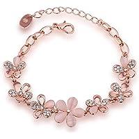 Shining Diva Fashion Latest 18k Rose Gold Stylish Bracelet Earrings Combo Jewellery For Women and Girls
