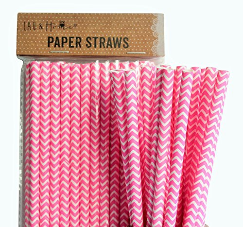 (Lau and Home Papier Chevron Straws Hochzeit Party Supplies Geschirr DIY - Chevron Zig Zag Design (Fuxia Rosa, 100))