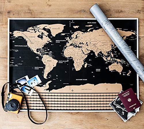 FREIWEIT Große Weltkarte zum Rubbeln - Rubbelweltkarte - Landkarte zum Freirubbeln - Premium Qualität - bereiste Länder freirubbeln - tolles Geschenk für Weltenbummler (83cm x 60cm) (Weltkarte Große)