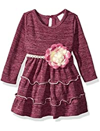 Youngland Baby Girls Knit Tiered Heatherd Dress with Flower Detail