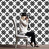 JY ART Fliesenaufkleber Dekorative Wandgestaltung mit Fliesenaufklebern für Küche und Bad, Deko-Fliesenfolie für Küche u. Schwarz und Weiß HL073, 20 * 20cm