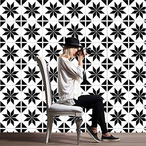 JY ART Stickers muraux Carreaux en Vintage Salle de Bain et Cuisine | adhésif Sticker Feuille pour Carreaux Salle de Bain et crédence Cuisine Noir et Blanc HL073, 20 * 20cm